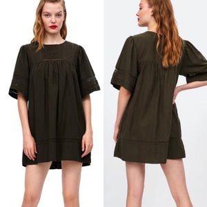 Zara khaki round neck dress/romper, size Small